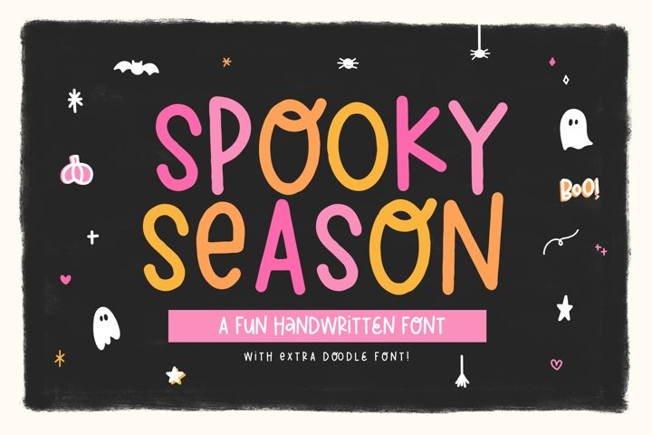 Spooky Season - Handwritten Font with Halloween Doodles