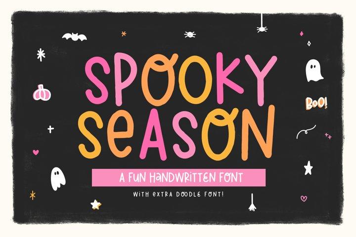 Spooky Season - Handwritten Font with Halloween Doodles