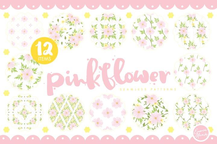 Pink Flower Seamless Patterns
