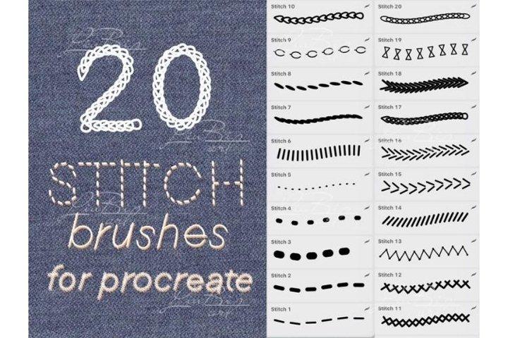 20 Procreate Stitches Brushes Set. Fashion Textile Clothing
