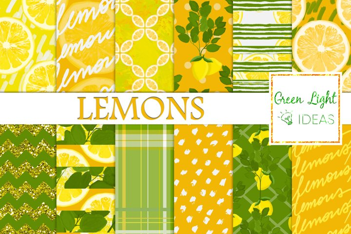 Lemons Digital Papers, Lemons Backgrounds, Citrus Patterns