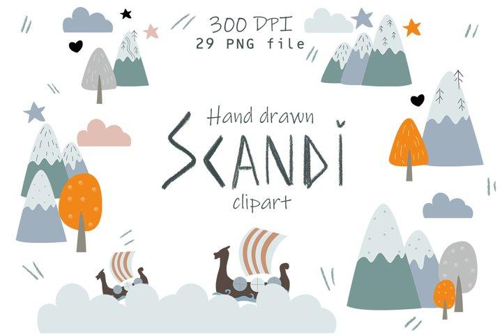 Hand drawn SCANDI clipart