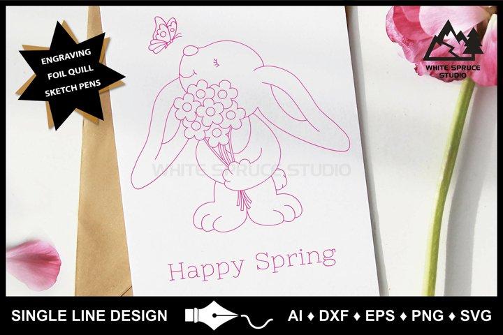 Single Line Design, Foil Quill, Engraving, Spring, Bunny SVG