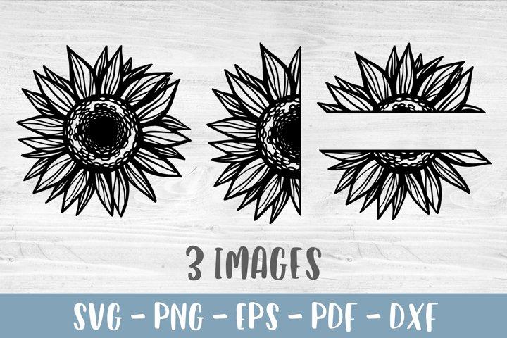 Sunflower SVG Sunflower bundle PNG Half sunflower clipart