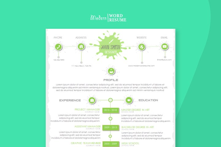Designer Resume Template | CV Template for Word