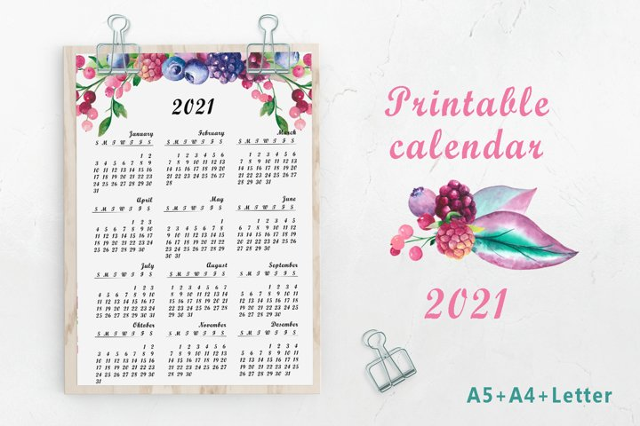 Printable calendar 2021. Big Wall Watercolor Calendar. PDF