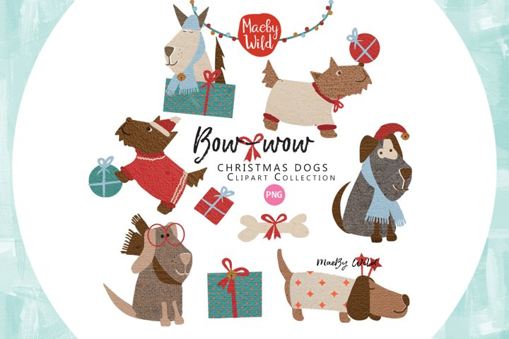 Christmas Dogs graphics and illustrations