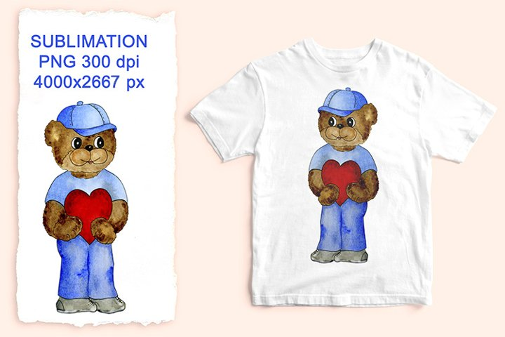 Watercolor bear with heart. PNG Sublimation design