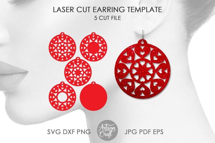 Heart mandala, laser cut jewelry files, Round earrings