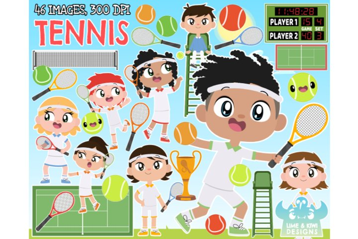 Tennis Clipart - Lime and Kiwi Designs
