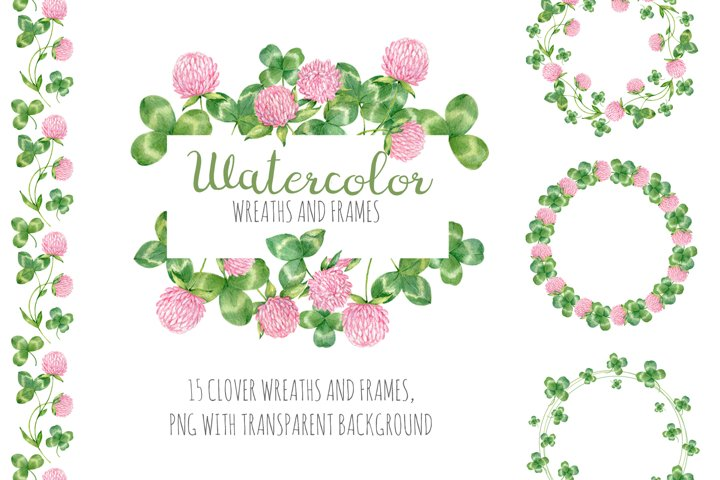 Watercolor clover wreaths and frames. Floral cliparts