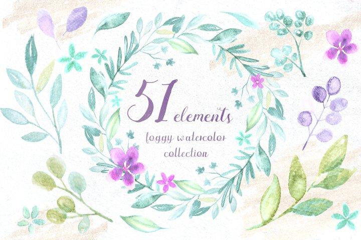 51 foggy watercolor elements
