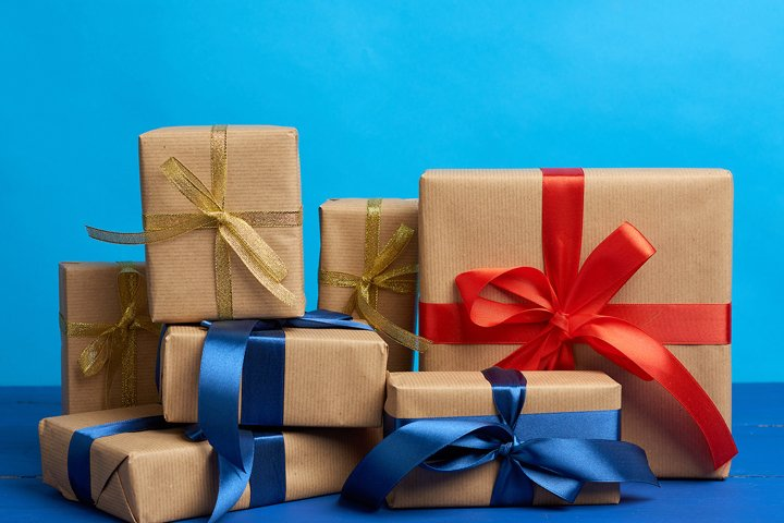 gifts in boxes wrapped in brown kraft paper