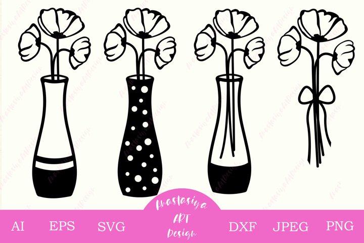 Poppy flower bouquet svg, Potted plants svg, Mason jar dxf