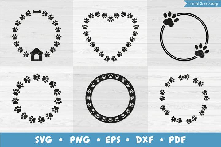 6 Dog Paw Monogram Frames SVG PNG DXF EPS PDF
