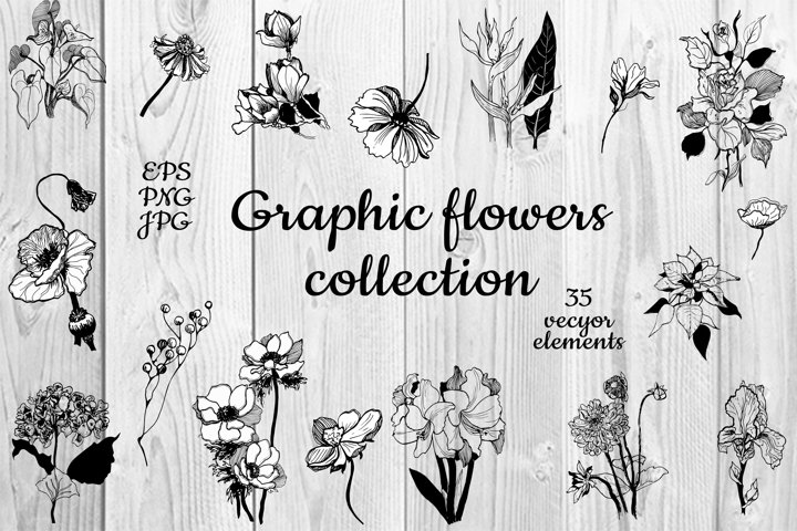 Vector collection of hand-drawn flowers. 35 elements