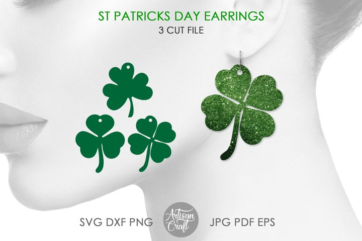 Clover earrings, St Patrick's day earrings, SVG cut file example