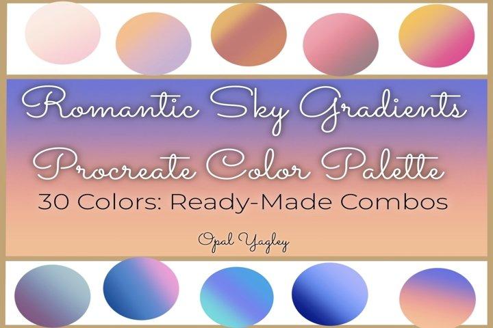 Procreate Color Palette - Romantic Sky Gradient Color Combos