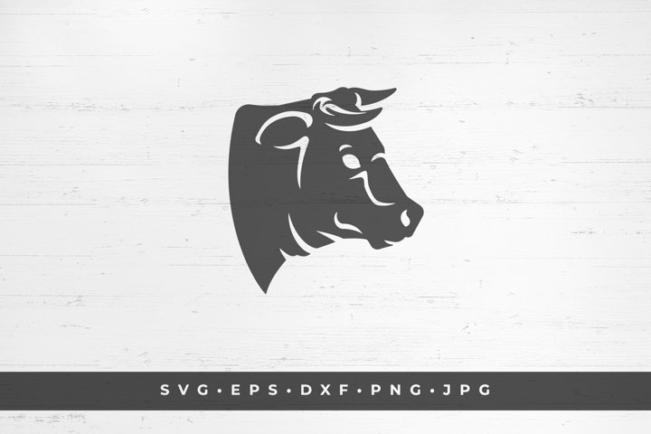 Horned cow head icon silhouette isolated on white background
