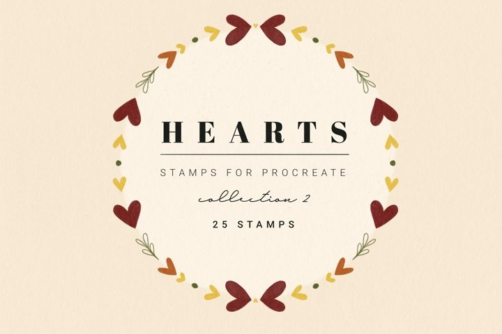 25 Procreate Heart Stamps   Procreate Valentines Day Brushes
