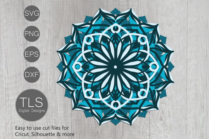 3D Mandala Layered SVG
