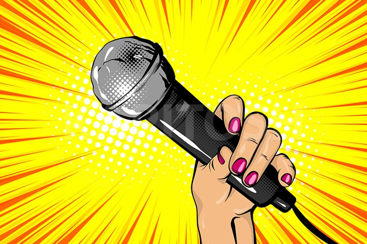 Vocalist, singer hand hold microphone pop art style