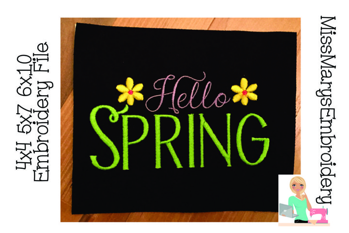 Hello Spring Embroidery | Spring Embroidery Design File