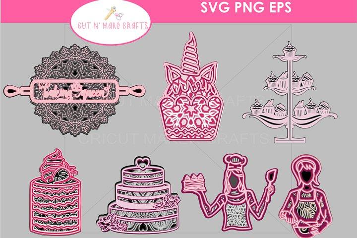 Baking Themed 3D Multilayered Mandala SVG Cut Files