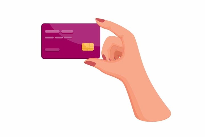 woman hand holding credit or debit card symbol vector