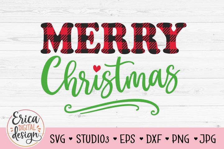 Merry Christmas SVG Cute Christmas Shirt Sign Buffalo Plaid