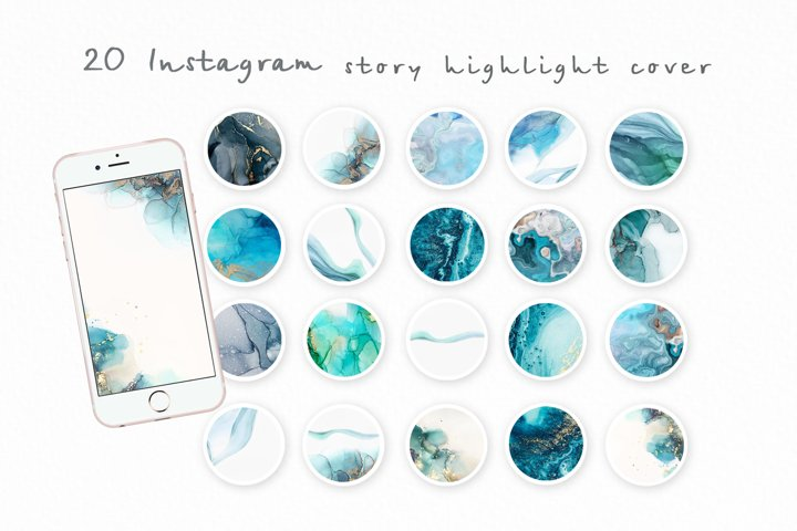 Instagram Story Highlight covers Ink texture Abstract Green