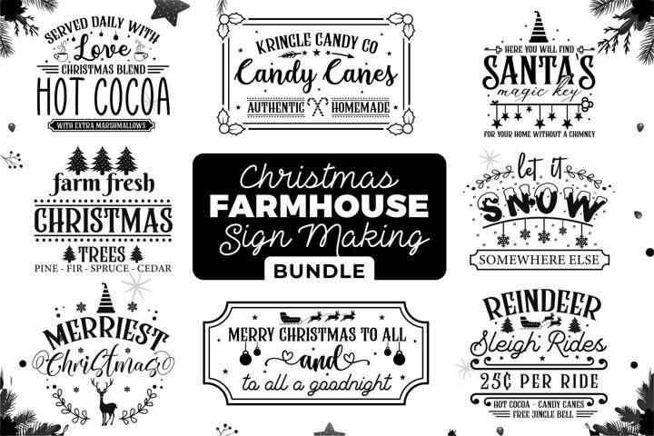 Christmas SVG Bundle, Farmhouse Christmas Sign Bundle SVG
