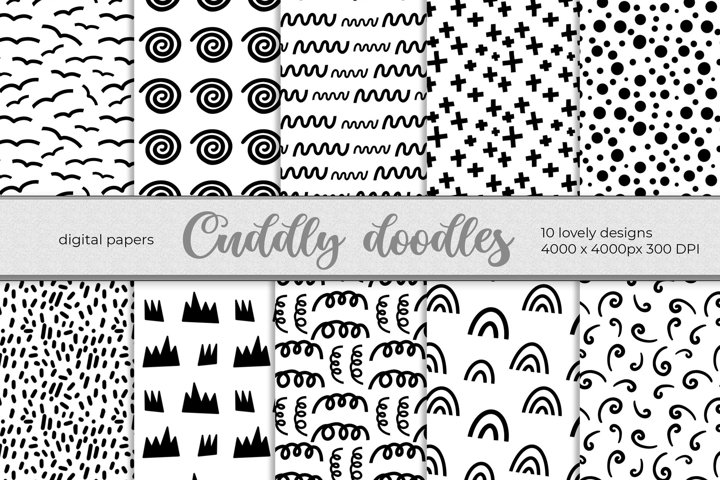 Digital Papers black and white. Scandinavian Doodles pattern