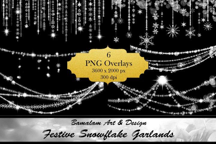 Festive Snowflake Garland Overlays
