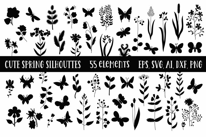 Collection of cute spring silhouettes