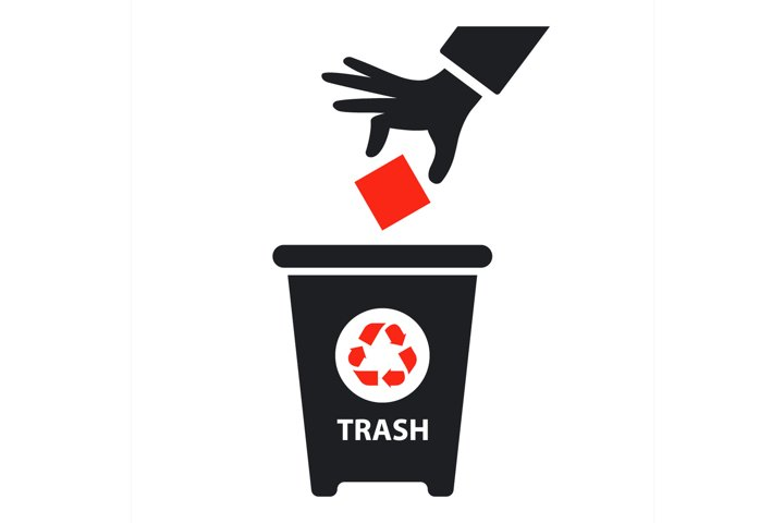 hand throws trash into container.