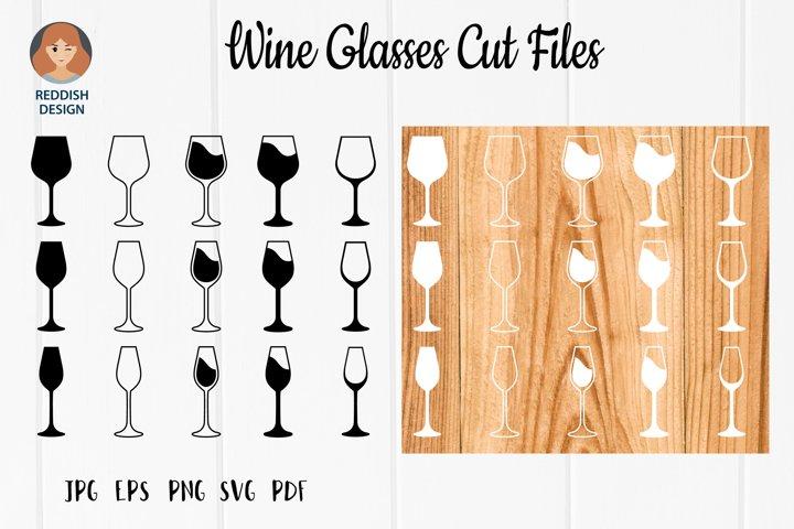 Wine glasses bundle SVG silhouette cut file