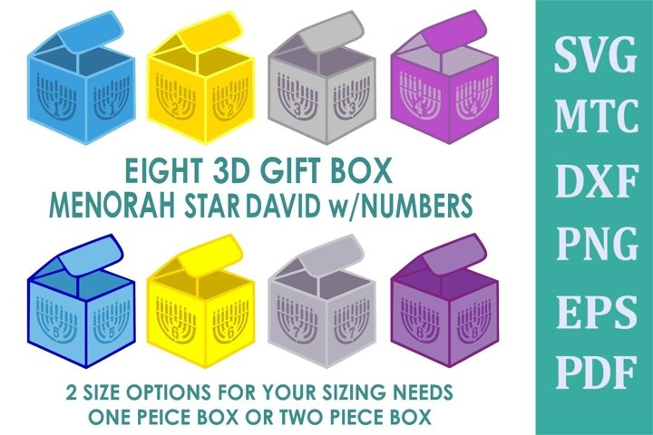 Hanukkah 3D Gift BOX Menorah Star David w/Numbers 8 Boxes