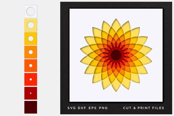 Mandala SVG, Cut file Mandala, Cut multilayer Mandala, 3D