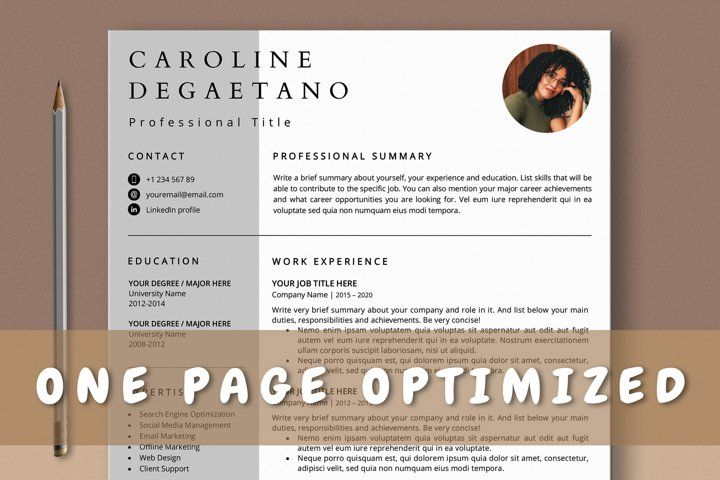 Optimized One Page Resume Template, 1 Page CV Template