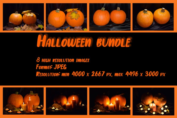 Set of 8 images. Festive composition for Halloween.