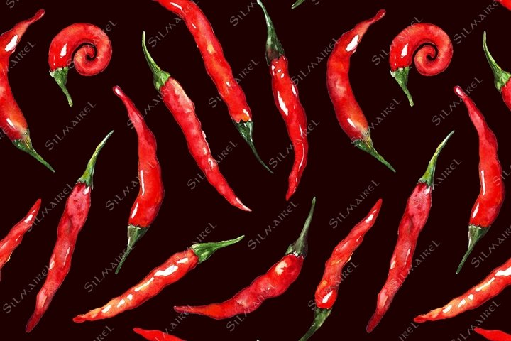 Watercolor red hot chili spicy pepper seamless pattern