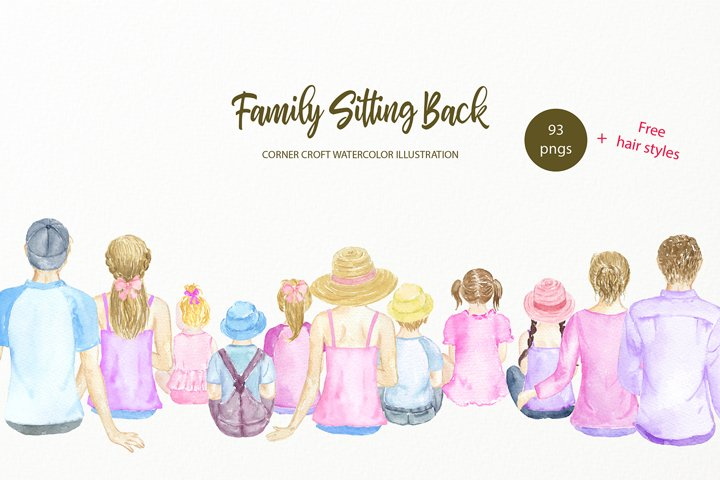 Family Sitting Back Clipart