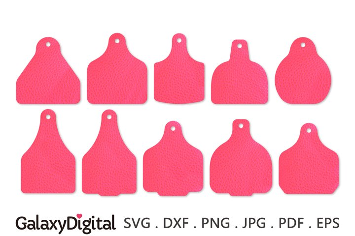 Cow Tag Earring SVG Bundle, Leather Earring Templates SVG