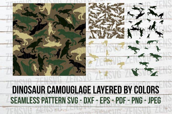 Dinosaur Camouflage Seamless SVG Pattern Cut File, Layered