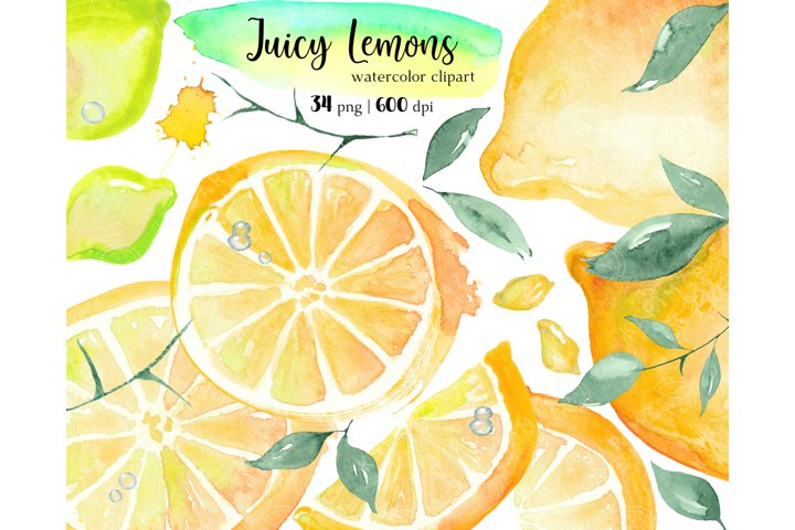 Watercolor Lemon Clipart, Citrus Wedding clipart png