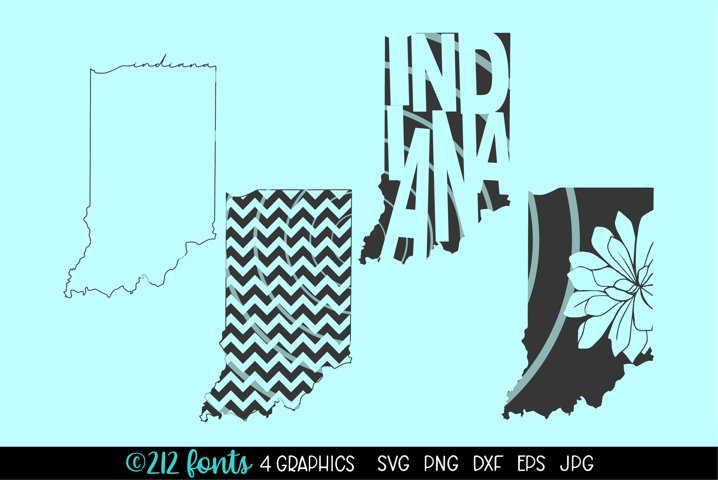 4 - Indiana State Map Graphic Cut File DXF PNG JPG SVG EPS