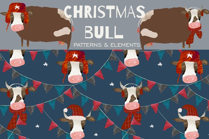 Christmas Bull Watercolor