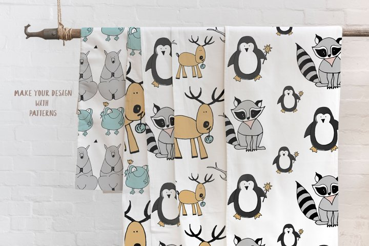 Animals & patterns for baby nursery Cute baby illustrations example 1