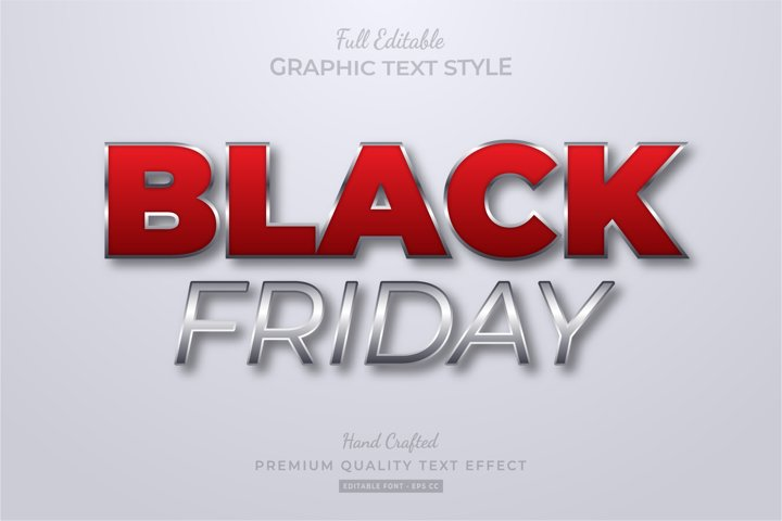 Black Friday Red Silver Editable Text Style Effect Premium